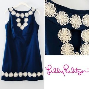 Lilly Pulitzer Gold Flower Applique Navy Shift